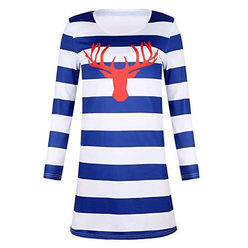 Primavera y otoño de la moda de las mujeres falda corta casual impresión rayas vestido cuello redondo