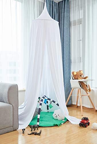 Laneetal Betthimmel Baldachin Weiß Kinderzimmer Deko Moskitonnetz Babys Bett, Prinzessin Prinz Spielzelte Kuschelecke Dekoration für Spielzimmer Schlafzimmer Ankleidezimmer