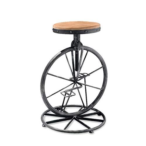 WYBW Taburetes de bar cafetería, taburete de bar Retro de madera maciza con marco de hierro con ruedas taburete de barra de elevación giratoria / 60~70Cm moda ajustable
