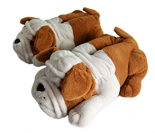 Fuzzy Winter Indoor Animal Bulldog Slippers for Adult and Kid, Bull Dogs (US Women Size 7-9, Brown Bulldog)