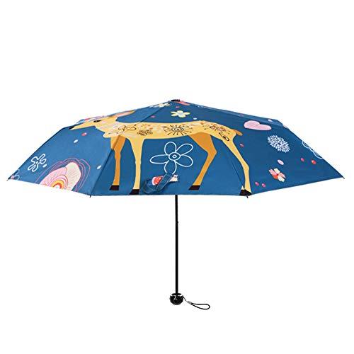 Venhoy Paraguas de viaje con protección UV UPF 50+, ultraligero con 3 pliegues, con revestimiento antirrayos UV, impermeable, diseño de alce