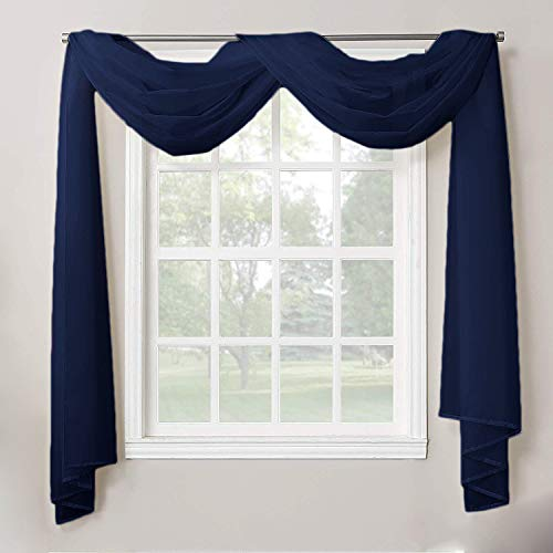 """Decotex 1 Piece Sheer Voile Home Decor Fully Hemmed Scarf Valance Swag Topper (37"""" X 216"""", Navy Blue)"""