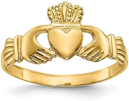 14k Yellow Gold Ladies Irish Claddagh Celtic Knot Band Ring Size 7 00 Fine Jewelry For Women product image