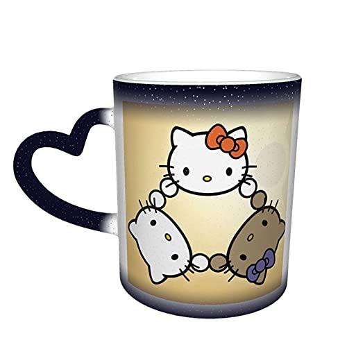 Hello Kitty - Taza cambiante de color en el cielo, cerámica sensible al calor, color cambiante, taza de viaje, taza de café, tazas de té, color azul