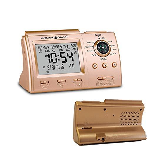HXSYD Azan Tischuhr, Digitale Muslimischen Gebet Alarm Athan Islamische Mit Qibla Kompass Desktop-Uhr, Die Komplette Azan Für Alle Gebete Qibla Richtung,Gold
