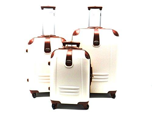 Set Tre Trolley ABS Rigido con riporti Ecopelle 4 ruote e Trolley Bagaglio a Mano idoneo Low Cost,Panna