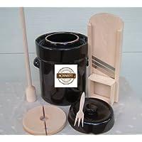 Steinzeug-Schmitt - Set de olla para hacer chucrut (5 L, incluye cortador de hierbas, pisón y tenedor)