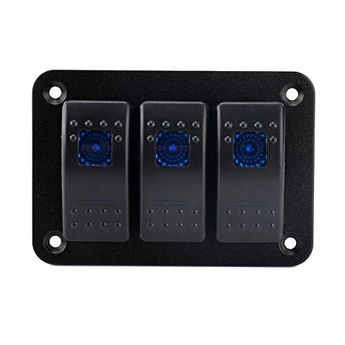 Caja de interruptores basculantes Panel de interruptores basculantes / 24V 3 bandas de luz LED dual Interruptor basculante Panel de interruptores basculantes de palanca para RV Car Marine Boat