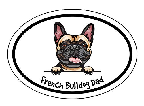 WickedGoodz Oval French Bulldog Dad Decal - Dog Bumper Sticker - for Laptops Tumblers Windows Cars Trucks Walls - Color