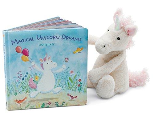 Jellycat Magical Unicorn Dreams Board Book and Bashful Unicorn, Medium - 12 inches