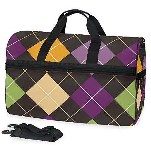 FANTAZIO Mehrfarbige rechteckige Fliesen, Sporttasche, Sporttasche, Reisetasche mit verstellbarem Riemen