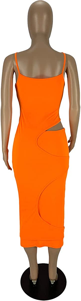 Ekaliy Womens Sexy Bodycon Sundress Spaghetti Strap V Neck Cut Out Club Tank Maxi Dress