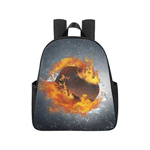 Brennende Puckscherben EIS auf abstrakten College-Rucksack 12.40x5.12x14.17inch Rucksack für College-Mehrzweck-Casual-Büchertaschen für Erwachsene Männer Geschäftsreiseschule, Büro