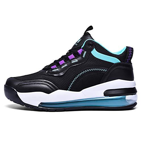 ZzWEI - Zapatillas deporte para hombre, con cojín aire, transpirables, transpirables, para correr, ligeras, absorción de golpes, zapatos de tenis, arco de carretera, color negro, EU45/US11/UK10.5