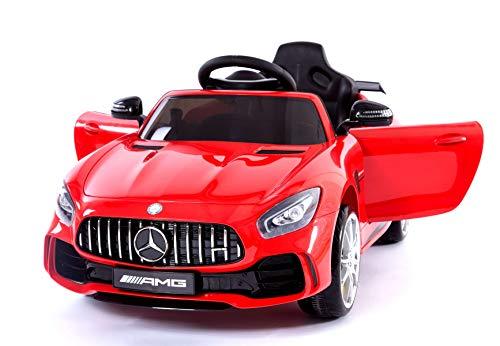 Coches electricos niños Mercedes-Benz GTR, Rojo, Licencia original, Puertas de la abertura, Asiento de cuero, 2.4 Ghz teledirigido, Ruedas suaves de EVA, Arranque suave