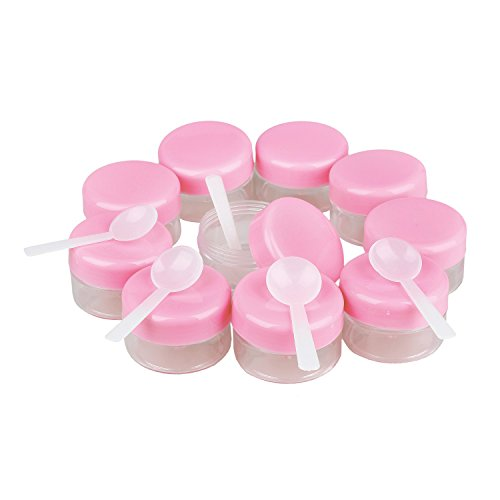 Gaoominy 10 Rose Couvercle Plastique Vide Maquillage Creme cosmetique Bocal Pot Flacon Contenance