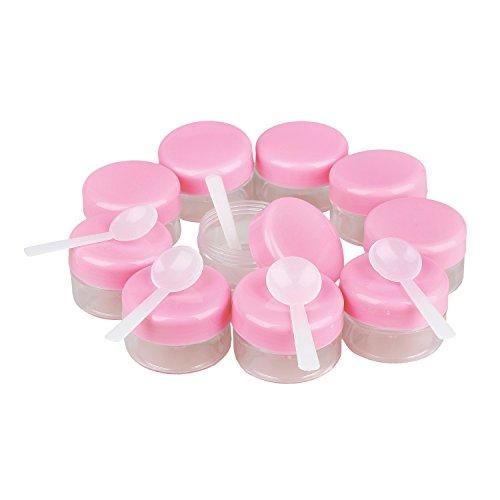 SODIAL(R) 10 Rose Couvercle Plastique Vide Maquillage creme cosmetique Bocal Pot Flacon Contenance