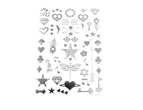 Metallic Tattoos viele verschiedene Motive in silber, zum Beispiel Delfin, Noten, Diamant, Feder, Herzen und viele weitere 01-00391
