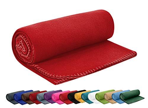 Polar Fleecedecke 130x160 cm ca. 400g schwer OekoTex mit Anti-Pilling und Kettelrand rot, weitere Farben erhältlich