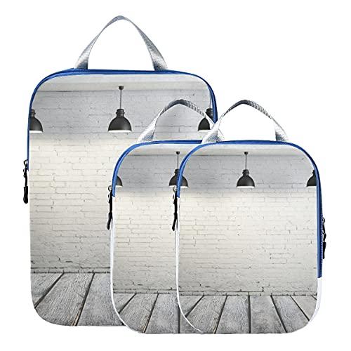 Compression Travel Packing Cubes Betonraum mit drei Deckenlampen Kofferorganizer für die Reise Erweiterbare Reiseverpackungstaschen für Handgepäck, Reise (3er-Set)