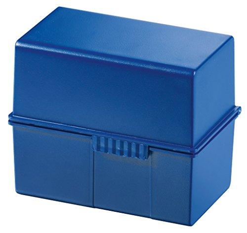 HAN Karteikartenbox DIN A6 976-14 in Blau für 400 Karteikarten im Querformat/Aufbewahrungsbox aus Plastik mit Deckel & Stahlscharnier/für Schule & Büro