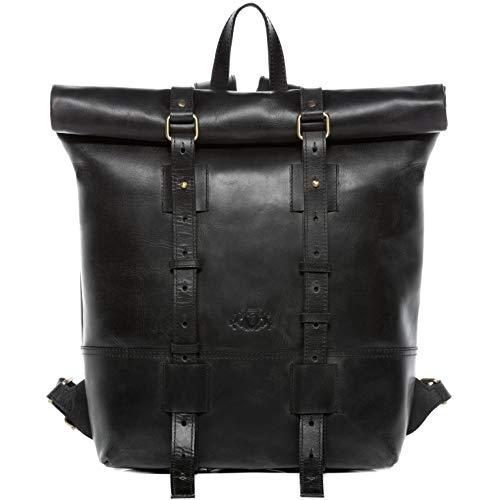 "SID & VAIN Rucksack echt Leder CHAZ | Vintage-Look | XXL groß Backpack Tagesrucksack Kurierrucksack 15,4"" Lederrucksack Herren"