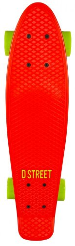 D-Street Polypropolene Complete Cruiser-Tavola da Skateboard, colore: rosso/verde
