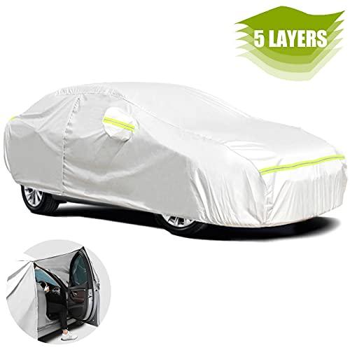 Favoto Sedan Cover Car Cover Universal Fit 177-194 Inch Right Side Zipper...