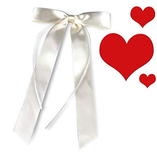 Das Original Autoschleifen Hochzeit 30er Set von TrauGlanz + Hochzeits-Checkliste - Premium Antennenschleifen Hochzeit aus Satin - Hochzeitsdeko fürs Auto in Edlem Champagner Ton für Ihren Traumtag