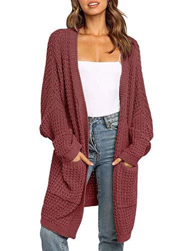 MEROKEETY Women's Oversized Long Batwing Sleeve Cardigan Waffle Knit Sweater Coat, Brickred, XL