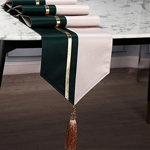 AAPOY Vintage Tischläufer Für 1 Stücke Dunkelgrün Beige Tischläufer Lange Tischdecke Bett Flagge Bett Fußtuch Teetischdecke Teeflagge Teetischdecke 30 * 183Cm