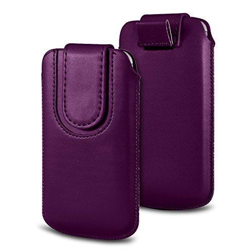 N4U Online Various Farbig Magnetisch PU Leder Zug Kippen Tab Schutzhüllen Tasche für Doogee X5S - Dunkles Violett