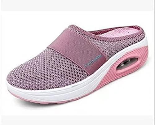Zapatos para Caminar sin Cordones con cojín de Aire para Mujer, Zapatos para Caminar ortopédicos para diabéticos, Zapatos sin Cordones con cojín de Aire Informales de Punto (38,Pink)