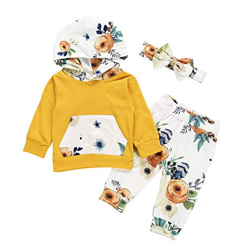 Kleinkind Baby Junge Mädchen Baumwolle Outfit Set für 0-24 Monate Langarm Rose Hoodie Floral Lange Hose Stirnband 3 Bilder (18-24 Monate, Gelb)
