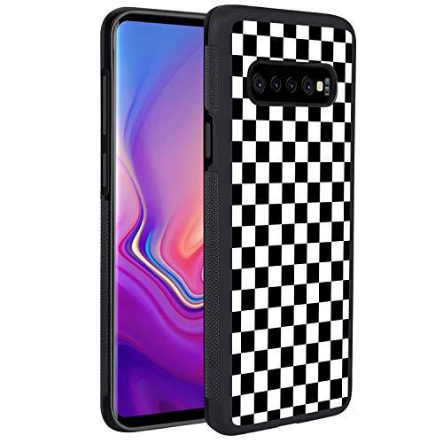 Samsung Galaxy S10+ Grid Lattice Plaid Quadrille Tartan Design Check Pattern Damier House Checkerboard Chessboard Checker Flag Case, Tire Tread Texture Anti-Drop Anti-Skidding PC+TPU Case