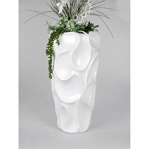 formano Deko Bodenvase, Pflanzgefäß Welle H. 70cm D. 32cm weiß Keramik