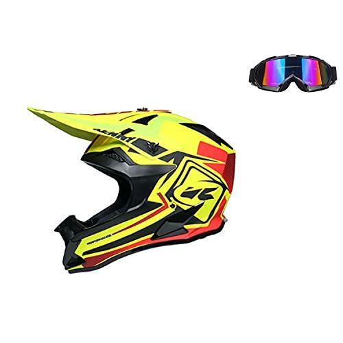 STZYY Casco Todo Terreno MTB Cross-Country Downhill Cross-Country Motocicleta ATV Casco De Motocicleta, Apto para Adultos (con Gafas) Amarillo