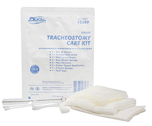 Tracheostomy Care Kit. Sterile Single Use Kit. Compact and Disposable Kit with All Necessary Items. Individual Needs. Gloves, Trachea Tube Brush, Sponges, Pipe Cleaners, Twill Tape, T-Drain Sponge.