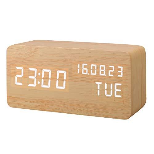 Réveil numérique avec contrôle du son et éclairage LED en bois de hêtre marron