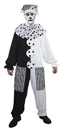 Scary Pierrot Teatrical - Disfraz de payaso blanco para Halloween (S/M hasta 42 pulgadas de pecho)