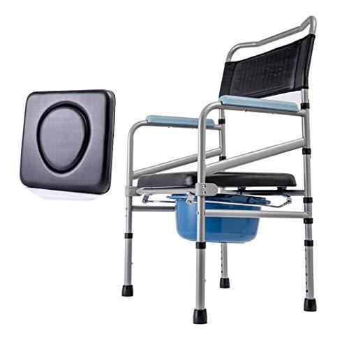 SYTH Medizinische Faltbare Toilettenstühle-Kommode,Duschstuhl mit Toilettenstuhl mit Armen Tragbare Toilette für Kommodenstuhl für Erwachsene - mit Deckeleimer und Spritzschutz