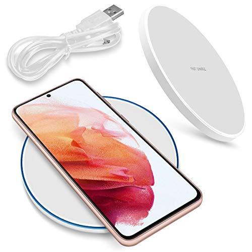 NAmobile Estación de carga inalámbrica QI compatible con Samsung Galaxy S21 5G, cargador universal por inducción, color blanco