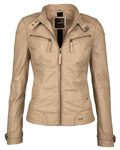 Maze Damen Lederjacke Mit Zwei Brusttaschen Ryana Beige XL