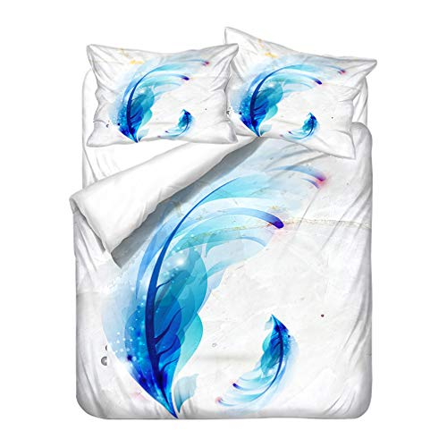 Bedding Set Literary Elegant Feather Zippered Duvet Cover and Pillowcase Blue White Gray Microfiber Boy Girl (Style 4,Single 135x200 cm)