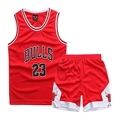 Kids Boys Girls Mens NBA Michael Jordan #23 Chicago Bulls Retro Basketball Jerseys Summer Suits...