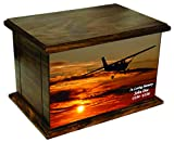 NWA Cessna Silhouette Flying into Red Sunset Human Adult Size Wooden Cremation Urn with Custom Personalization