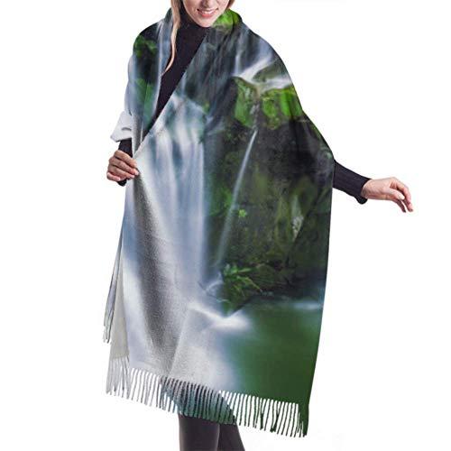 Bufanda de Invierno Para Mujer Chal Pashminas Cascada Del Bosque Profundo Grande Larga de 196 * 68CM Chal Invierno Cálida Suave Manta para Mujeres