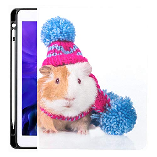 Ipad Pro 12.9 Case 2020 & 2018 with Pencil Holder Two Funny Guinea Pigs Dressed Knitted Smart Cover Ipad Case, Supports 2nd Gen Pencil Charging,case for 2020 Ipad Pro 12.9 Cover with Auto Sleep/Wake