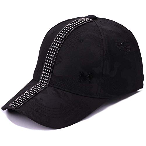 Sombreros de boutique al aire libre - Gorra de béisbol Diamante de diamantes de imitación Verano Gorra de béisbol Mujeres Casuales Sombrero de viaje Gorras para niñas Hombres ajustables Básico Negro V