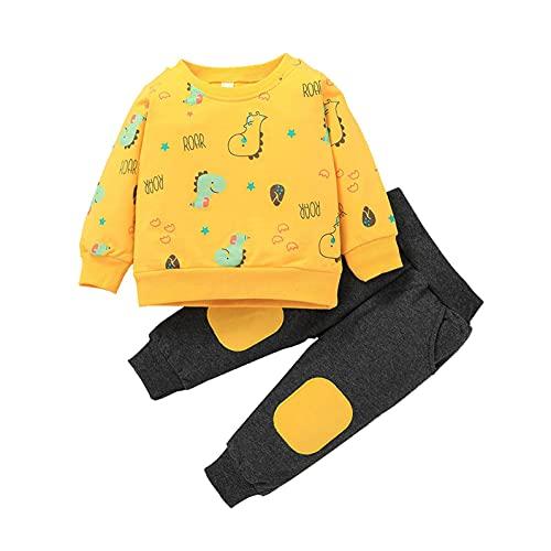 Sheey Traje Conjunto de Ropa y Pantalón Niño Bebé Estampado de Dinosaurio de Manga Larga para Niña Unisexo Recién Nacido Pequeños Otoño Invierno Fiesta Inicio Navidad Navideño